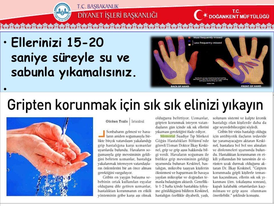 T.C. DOĞANKENT MÜFTÜLÜĞÜ Ellerinizi 15-20 saniye süreyle su ve sabunla yıkamalısınız.