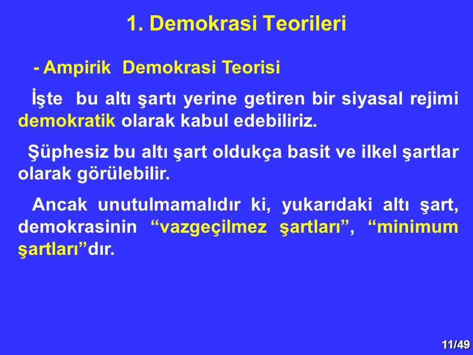 11/49 - Ampirik Demokrasi Teorisi İşte bu altı şartı yerine getiren bir siyasal rejimi demokratik olarak kabul edebiliriz. Şüphesiz bu altı şart olduk
