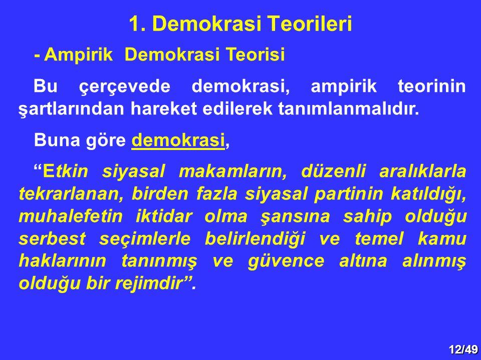 """12/49 - Ampirik Demokrasi Teorisi Bu çerçevede demokrasi, ampirik teorinin şartlarından hareket edilerek tanımlanmalıdır. Buna göre demokrasi, """"Etkin"""