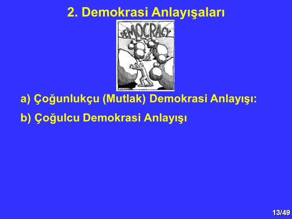 13/49 a) Çoğunlukçu (Mutlak) Demokrasi Anlayışı: b) Çoğulcu Demokrasi Anlayışı 2.