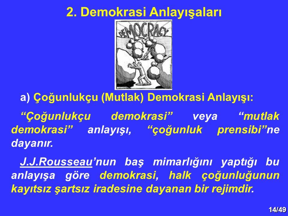 """14/49 a) Çoğunlukçu (Mutlak) Demokrasi Anlayışı: """"Çoğunlukçu demokrasi"""" veya """"mutlak demokrasi"""" anlayışı, """"çoğunluk prensibi""""ne dayanır. J.J.Rousseau'"""