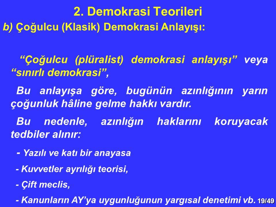19/49 Çoğulcu (plüralist) demokrasi anlayışı veya sınırlı demokrasi , Bu anlayışa göre, bugünün azınlığının yarın çoğunluk hâline gelme hakkı vardır.