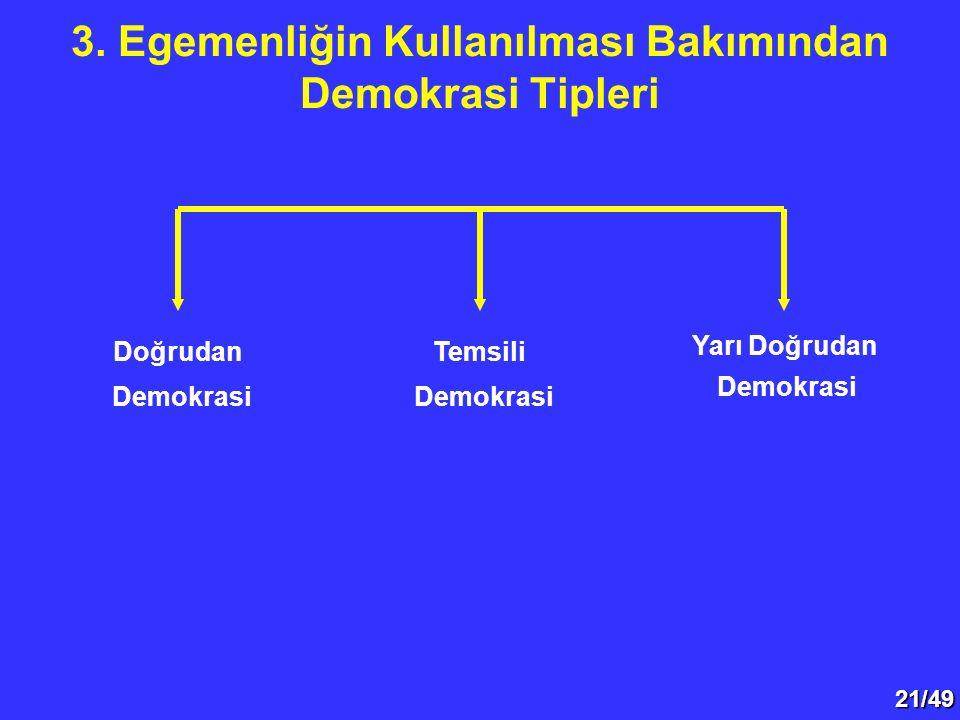 21/49 3. Egemenliğin Kullanılması Bakımından Demokrasi Tipleri Doğrudan Demokrasi Temsili Demokrasi Yarı Doğrudan Demokrasi