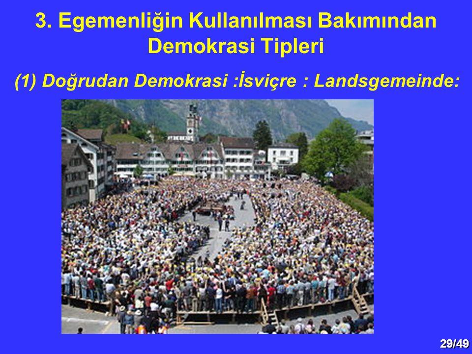 29/49 (1) Doğrudan Demokrasi :İsviçre : Landsgemeinde: 3. Egemenliğin Kullanılması Bakımından Demokrasi Tipleri