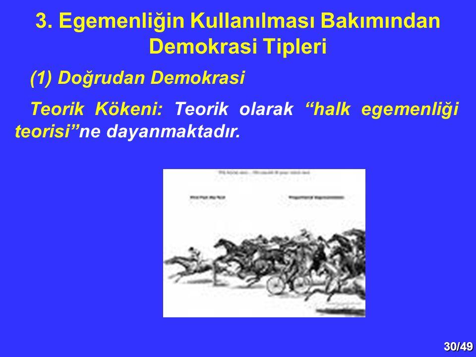 """30/49 (1) Doğrudan Demokrasi Teorik Kökeni: Teorik olarak """"halk egemenliği teorisi""""ne dayanmaktadır. 3. Egemenliğin Kullanılması Bakımından Demokrasi"""