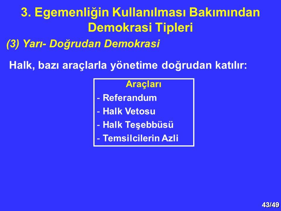 43/49 Halk, bazı araçlarla yönetime doğrudan katılır: 3. Egemenliğin Kullanılması Bakımından Demokrasi Tipleri (3) Yarı- Doğrudan Demokrasi Araçları -