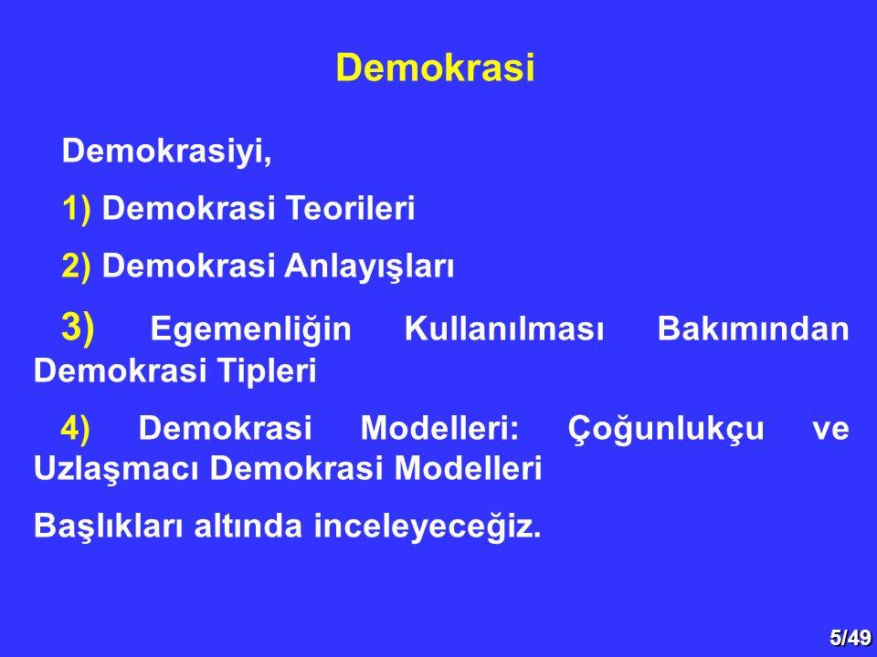 5/49 Demokrasiyi, 1) Demokrasi Teorileri 2) Demokrasi Anlayışları 3) Egemenliğin Kullanılması Bakımından Demokrasi Tipleri 4) Demokrasi Modelleri: Çoğ