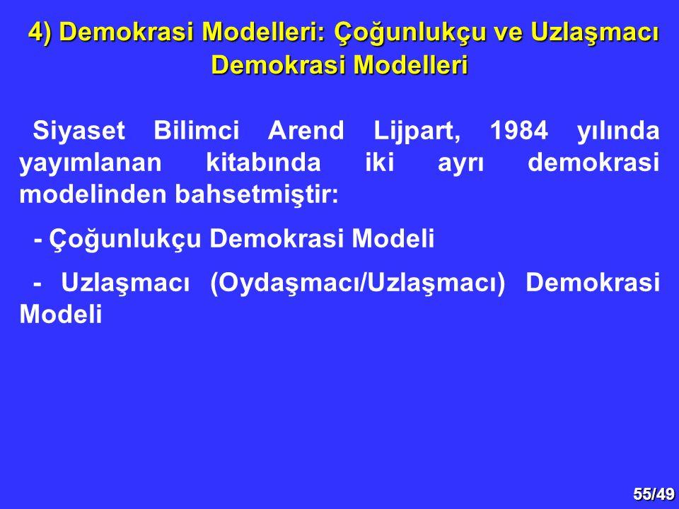 55/49 Siyaset Bilimci Arend Lijpart, 1984 yılında yayımlanan kitabında iki ayrı demokrasi modelinden bahsetmiştir: - Çoğunlukçu Demokrasi Modeli - Uzl