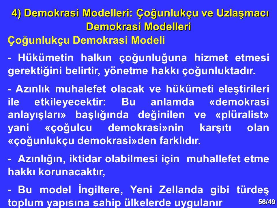 56/49 Çoğunlukçu Demokrasi Modeli 4) Demokrasi Modelleri: Çoğunlukçu ve Uzlaşmacı Demokrasi Modelleri 4) Demokrasi Modelleri: Çoğunlukçu ve Uzlaşmacı Demokrasi Modelleri - Hükümetin halkın çoğunluğuna hizmet etmesi gerektiğini belirtir, yönetme hakkı çoğunluktadır.