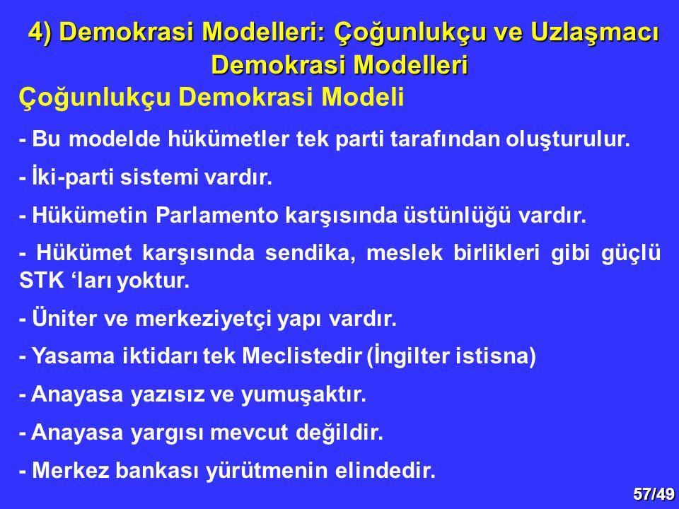 57/49 Çoğunlukçu Demokrasi Modeli 4) Demokrasi Modelleri: Çoğunlukçu ve Uzlaşmacı Demokrasi Modelleri 4) Demokrasi Modelleri: Çoğunlukçu ve Uzlaşmacı Demokrasi Modelleri - Bu modelde hükümetler tek parti tarafından oluşturulur.