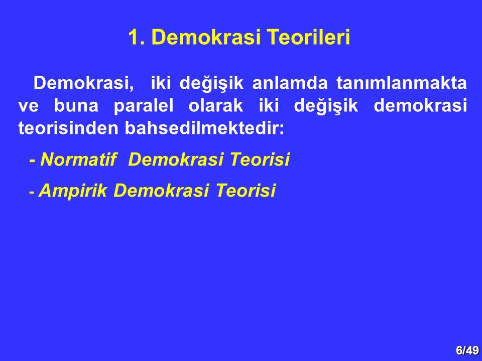 6/49 Demokrasi, iki değişik anlamda tanımlanmakta ve buna paralel olarak iki değişik demokrasi teorisinden bahsedilmektedir: - Normatif Demokrasi Teorisi - Ampirik Demokrasi Teorisi 1.