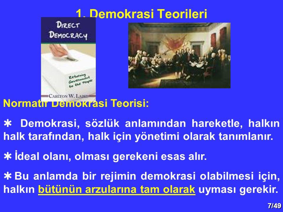 7/49 Normatif Demokrasi Teorisi:  Demokrasi, sözlük anlamından hareketle, halkın halk tarafından, halk için yönetimi olarak tanımlanır.  İdeal olanı