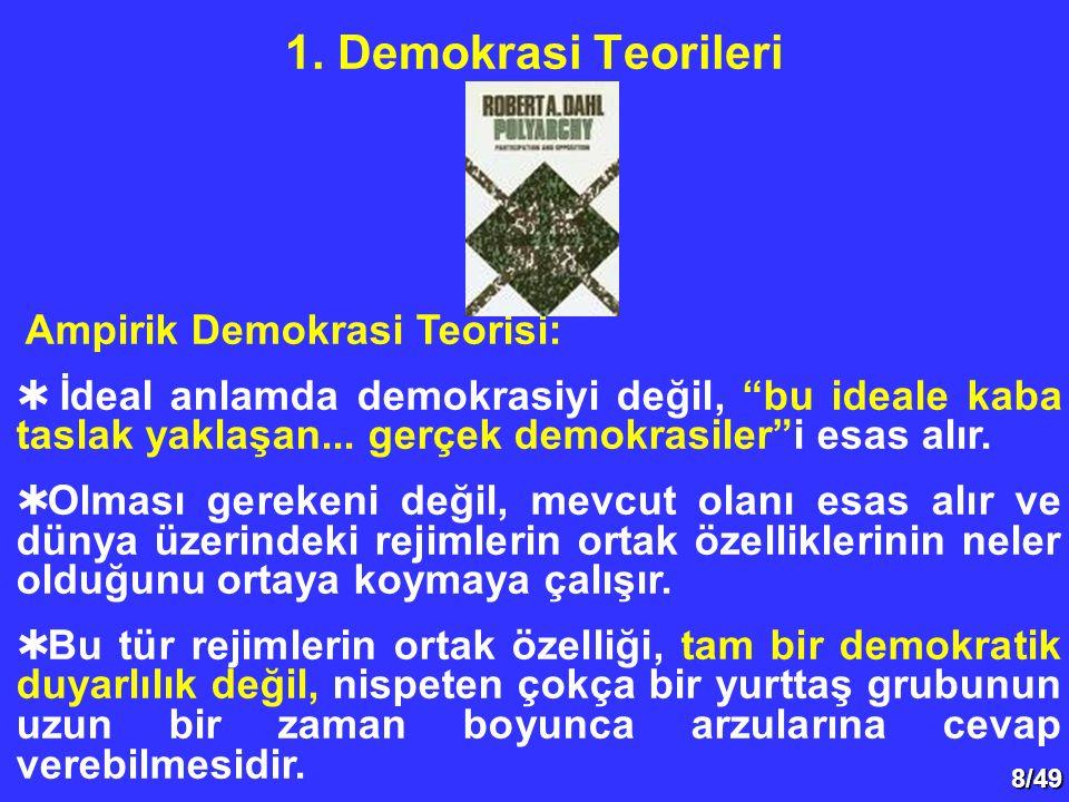 """8/49 1. Demokrasi Teorileri Ampirik Demokrasi Teorisi:  İdeal anlamda demokrasiyi değil, """"bu ideale kaba taslak yaklaşan... gerçek demokrasiler""""i esa"""