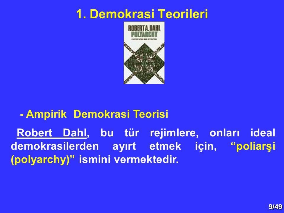 """9/49 - Ampirik Demokrasi Teorisi Robert Dahl, bu tür rejimlere, onları ideal demokrasilerden ayırt etmek için, """"poliarşi (polyarchy)"""" ismini vermekted"""
