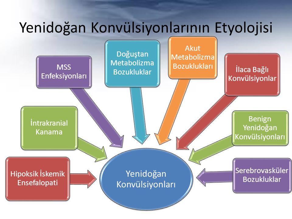 Yenidoğan Konvülsiyonlarının Etyolojisi Yenidoğan Konvülsiyonları Hipoksik İskemik Ensefalopati İntrakranial Kanama MSS Enfeksiyonları Doğuştan Metabo