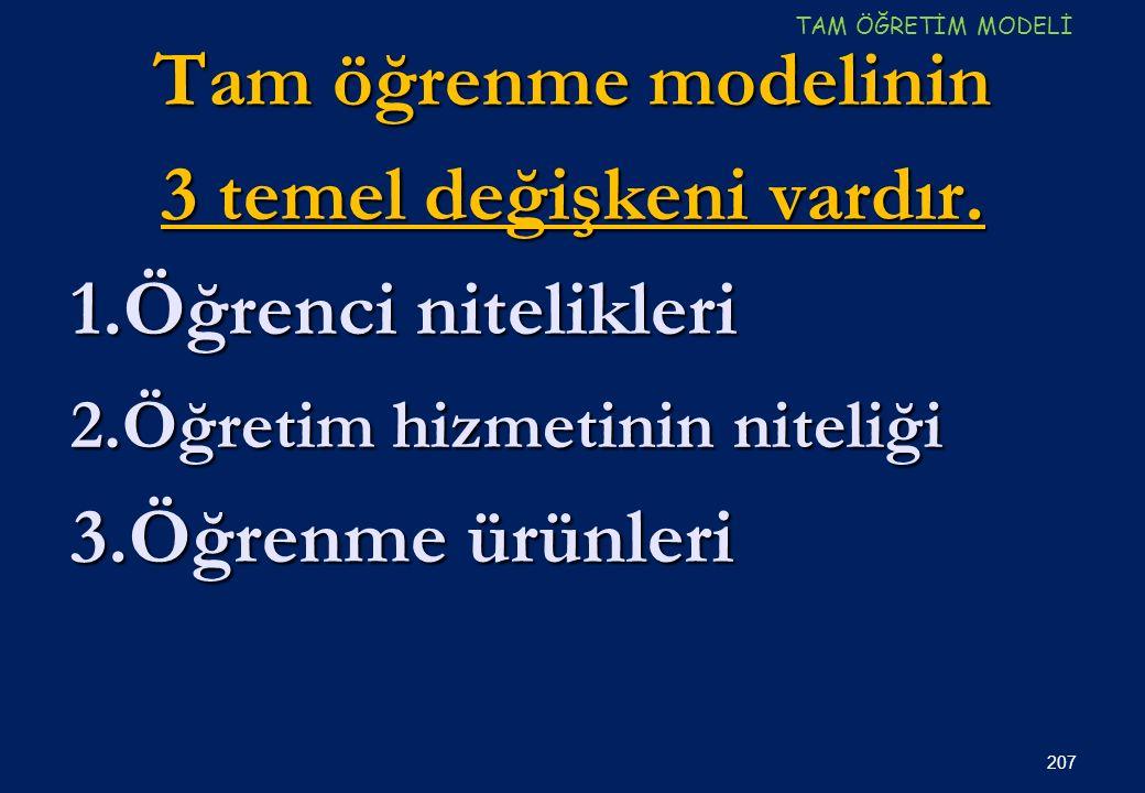 Tam öğrenme modelinin 3 temel değişkeni vardır.