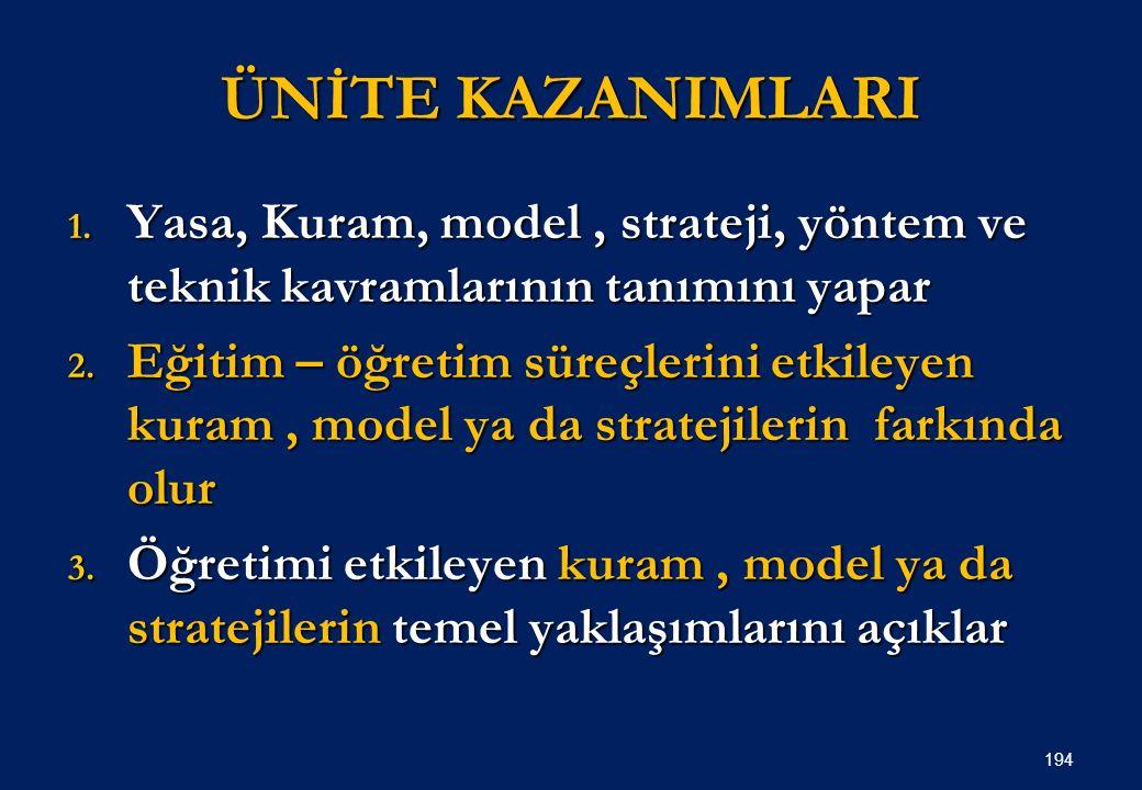 ÜNİTE KAZANIMLARI 1.Yasa, Kuram, model, strateji, yöntem ve teknik kavramlarının tanımını yapar 2.