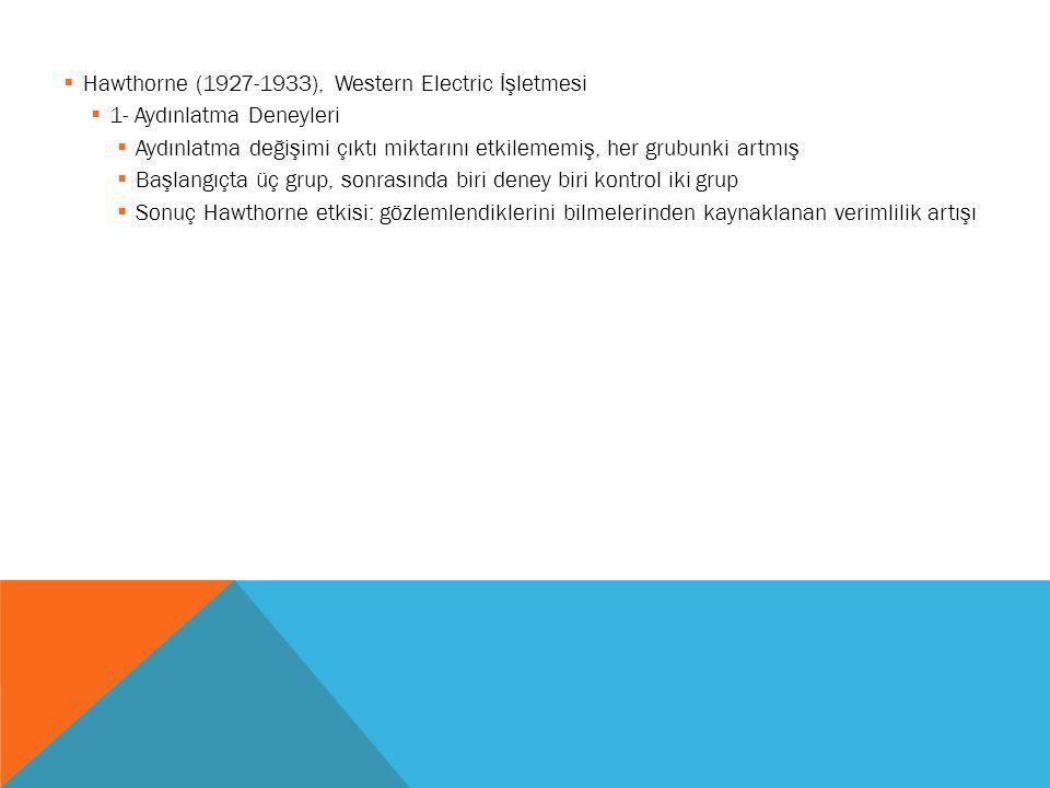  Hawthorne (1927-1933), Western Electric İşletmesi  1- Aydınlatma Deneyleri  Aydınlatma değişimi çıktı miktarını etkilememiş, her grubunki artmış 