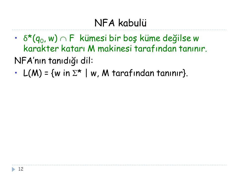 NFA kabulü 12 δ *(q 0, w)  F kümesi bir boş küme değilse w karakter katarı M makinesi tarafından tanınır. NFA'nın tanıdığı dil: L(M) = {w in  * | w,