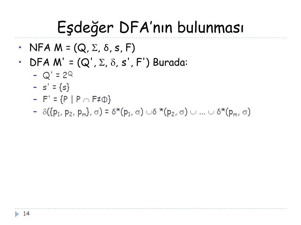 Eşdeğer DFA'nın bulunması 14 NFA M = (Q, , δ, s, F) DFA M = (Q , , , s , F ) Burada: –Q = 2 Q –s = {s} –F = {P | P  F≠ Φ } –  ({p 1, p 2, p m },  ) = δ *(p 1,  )  δ *(p 2,  ) ...