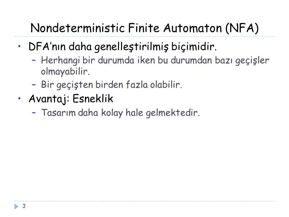 Nondeterministic Finite Automaton (NFA) 3 DFA'nın daha genelleştirilmiş biçimidir. –Herhangi bir durumda iken bu durumdan bazı geçişler olmayabilir. –