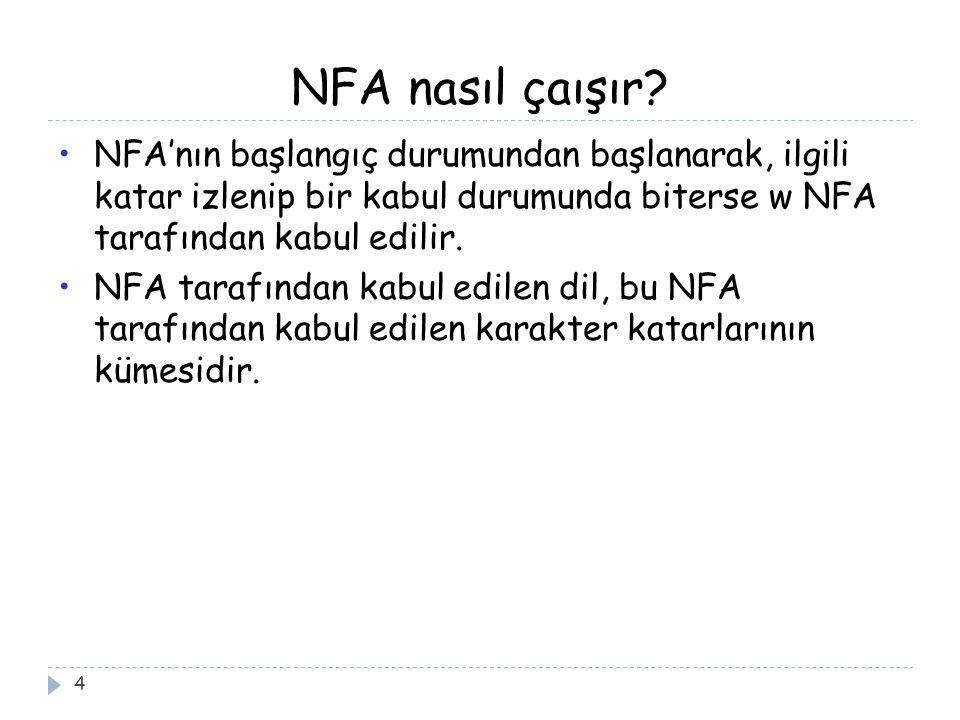 NFA nasıl çaışır? 4 NFA'nın başlangıç durumundan başlanarak, ilgili katar izlenip bir kabul durumunda biterse w NFA tarafından kabul edilir. NFA taraf