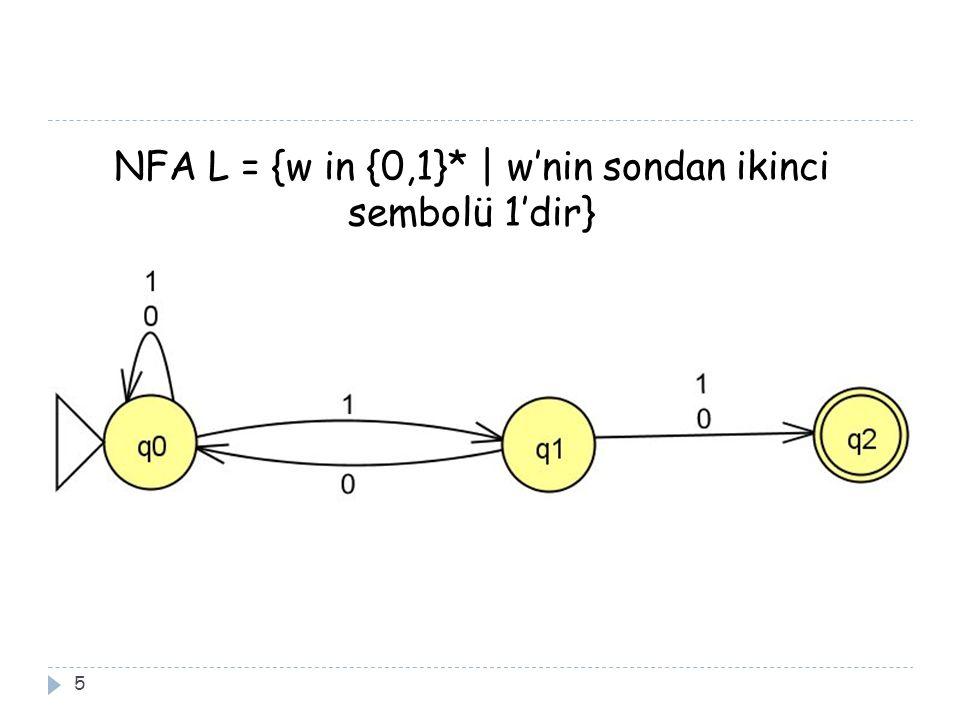 NFA L = {w in {0,1}* | w'nin sondan ikinci sembolü 1'dir} 5