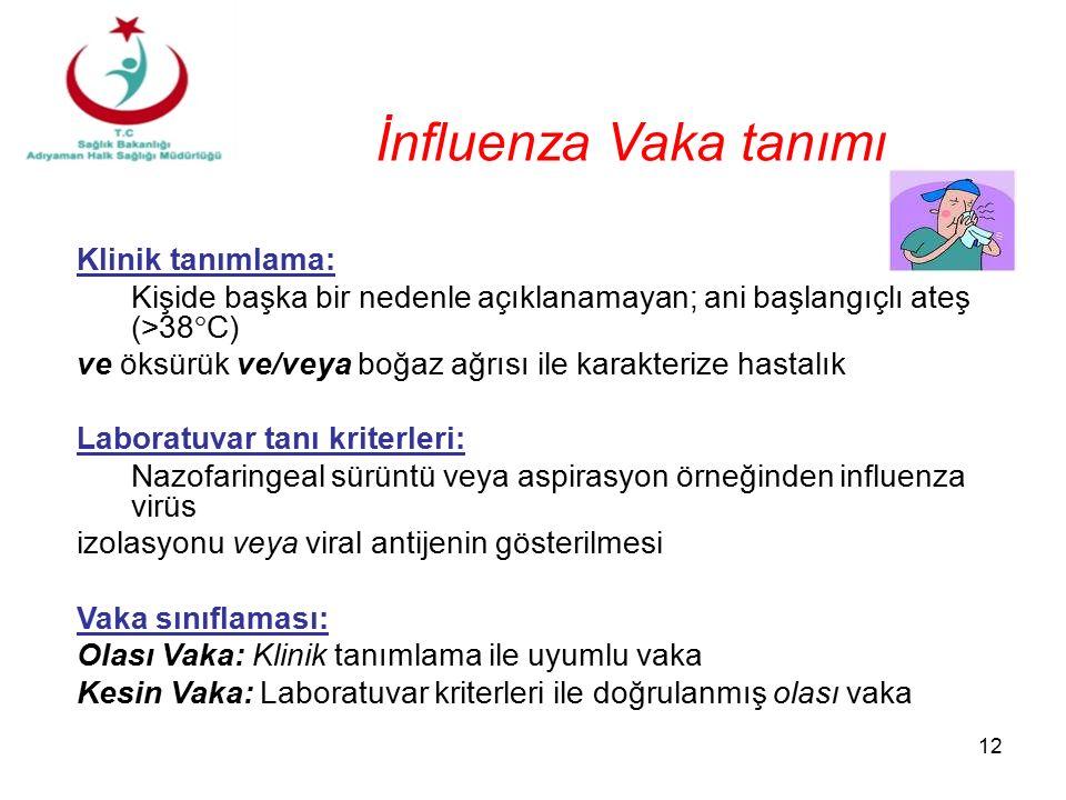 İnfluenza Vaka tanımı Klinik tanımlama: Kişide başka bir nedenle açıklanamayan; ani başlangıçlı ateş (>38  C) ve öksürük ve/veya boğaz ağrısı ile karakterize hastalık Laboratuvar tanı kriterleri: Nazofaringeal sürüntü veya aspirasyon örneğinden influenza virüs izolasyonu veya viral antijenin gösterilmesi Vaka sınıflaması: Olası Vaka: Klinik tanımlama ile uyumlu vaka Kesin Vaka: Laboratuvar kriterleri ile doğrulanmış olası vaka 12