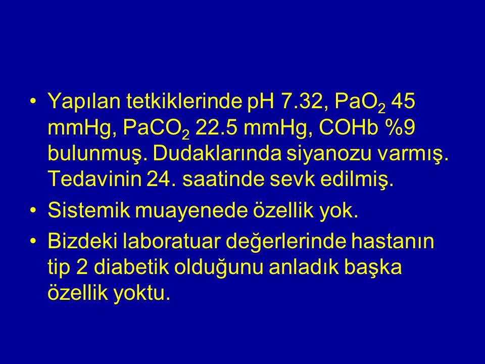 Yapılan tetkiklerinde pH 7.32, PaO 2 45 mmHg, PaCO 2 22.5 mmHg, COHb %9 bulunmuş. Dudaklarında siyanozu varmış. Tedavinin 24. saatinde sevk edilmiş. S