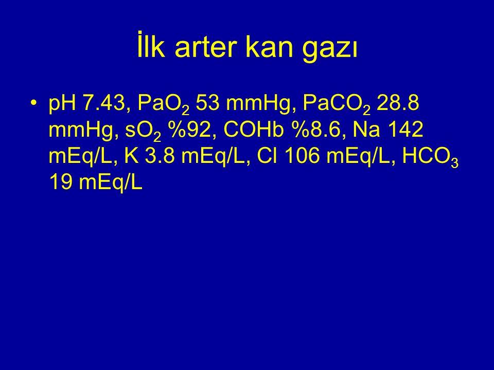 İlk arter kan gazı pH 7.43, PaO 2 53 mmHg, PaCO 2 28.8 mmHg, sO 2 %92, COHb %8.6, Na 142 mEq/L, K 3.8 mEq/L, Cl 106 mEq/L, HCO 3 19 mEq/L