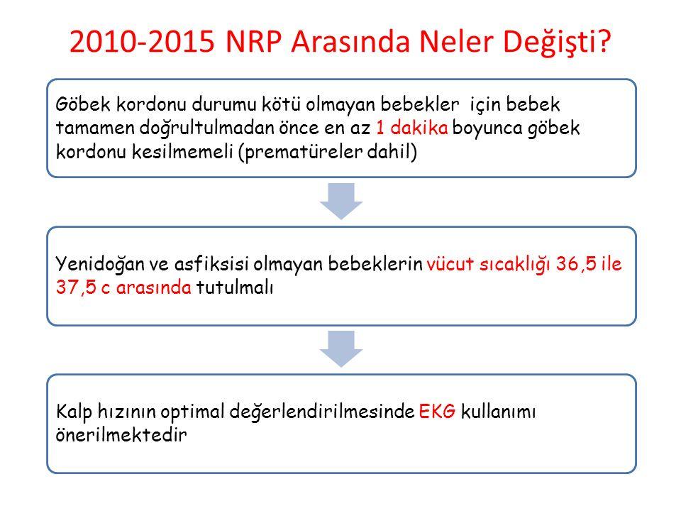 2010-2015 NRP Arasında Neler Değişti? Göbek kordonu durumu kötü olmayan bebekler için bebek tamamen doğrultulmadan önce en az 1 dakika boyunca göbek k