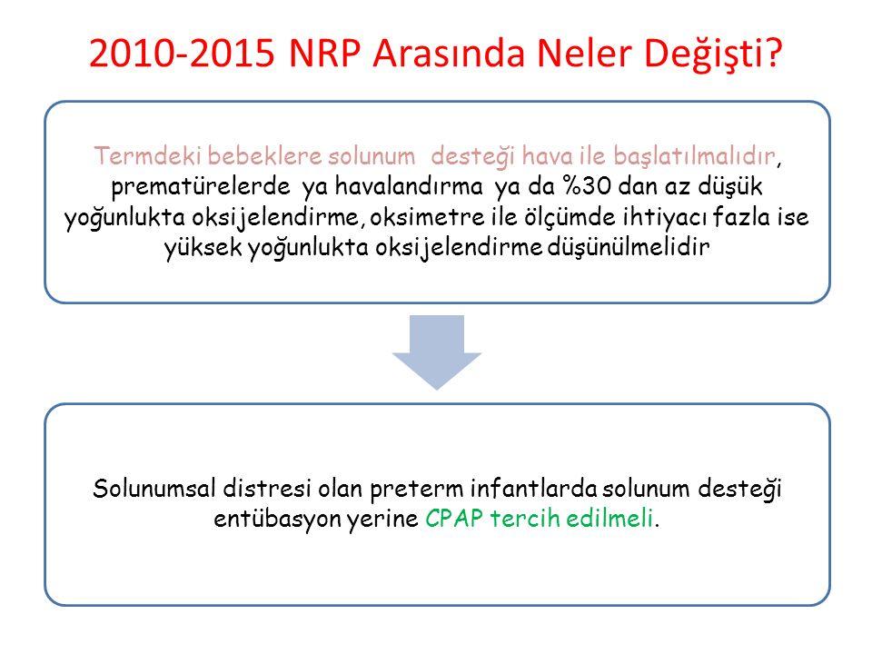 2010-2015 NRP Arasında Neler Değişti? Termdeki bebeklere solunum desteği hava ile başlatılmalıdır, prematürelerde ya havalandırma ya da %30 dan az düş