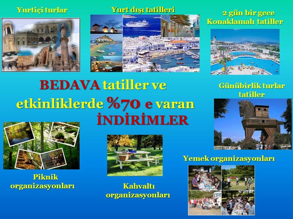 BEDAVA tatiller ve BEDAVA tatiller ve etkinliklerde %70 e varan etkinliklerde %70 e varan İNDİRİMLER İNDİRİMLER Yurtiçi turlar Yurt dışı tatilleri 2 g