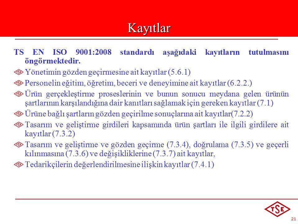 21 TS EN ISO 9001:2008 standardı aşağıdaki kayıtların tutulmasını öngörmektedir.