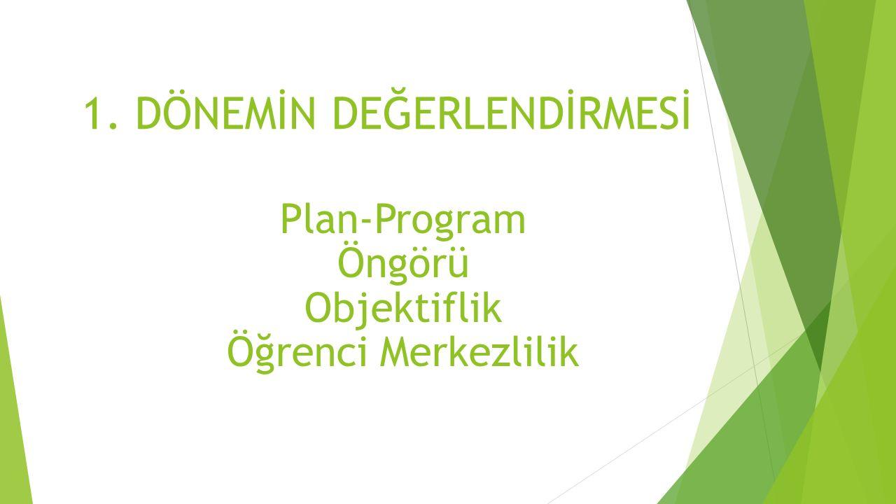 1. DÖNEMİN DEĞERLENDİRMESİ Plan-Program Öngörü Objektiflik Öğrenci Merkezlilik