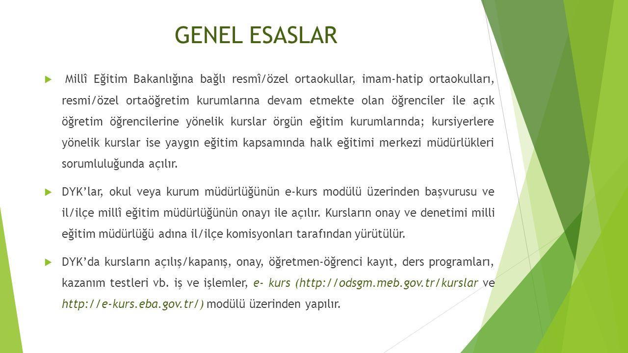 GENEL ESASLAR  Millî Eğitim Bakanlığına bağlı resmî/özel ortaokullar, imam-hatip ortaokulları, resmi/özel ortaöğretim kurumlarına devam etmekte olan