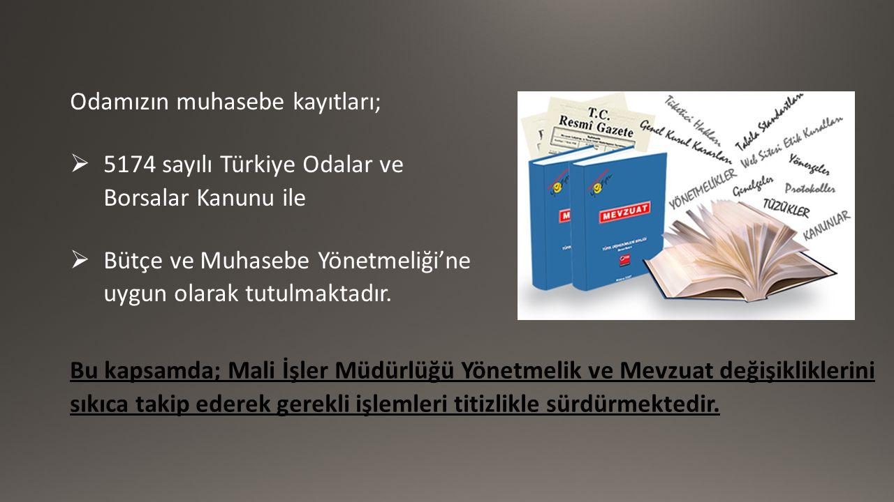 Odamızın muhasebe kayıtları;  5174 sayılı Türkiye Odalar ve Borsalar Kanunu ile  Bütçe ve Muhasebe Yönetmeliği'ne uygun olarak tutulmaktadır. Bu kap