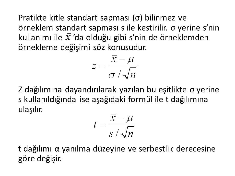 Pratikte kitle standart sapması (σ) bilinmez ve örneklem standart sapması s ile kestirilir. σ yerine s'nin kullanımı ile 'da olduğu gibi s'nin de örne