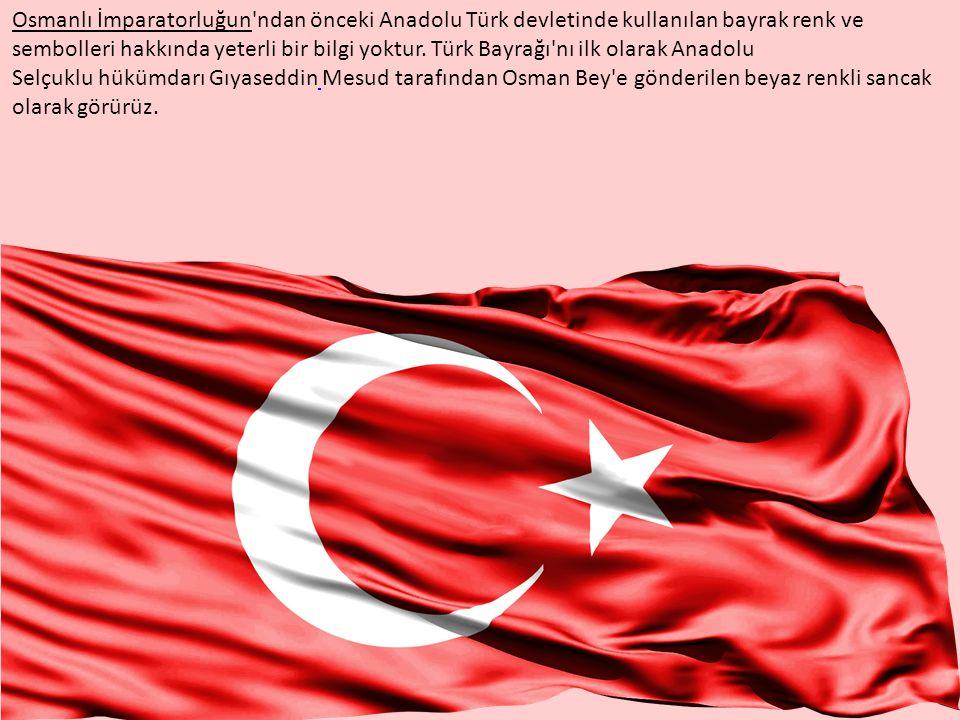 Osmanlı İmparatorluğun'ndan önceki Anadolu Türk devletinde kullanılan bayrak renk ve sembolleri hakkında yeterli bir bilgi yoktur. Türk Bayrağı'nı ilk