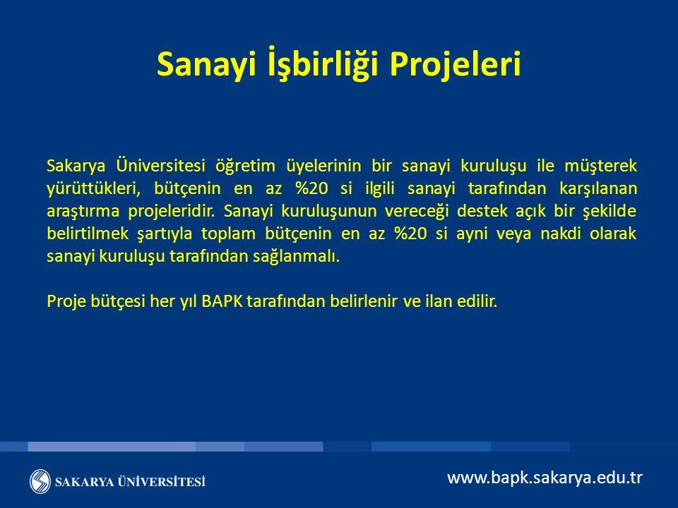 Sanayi İşbirliği Projeleri Sakarya Üniversitesi öğretim üyelerinin bir sanayi kuruluşu ile müşterek yürüttükleri, bütçenin en az %20 si ilgili sanayi