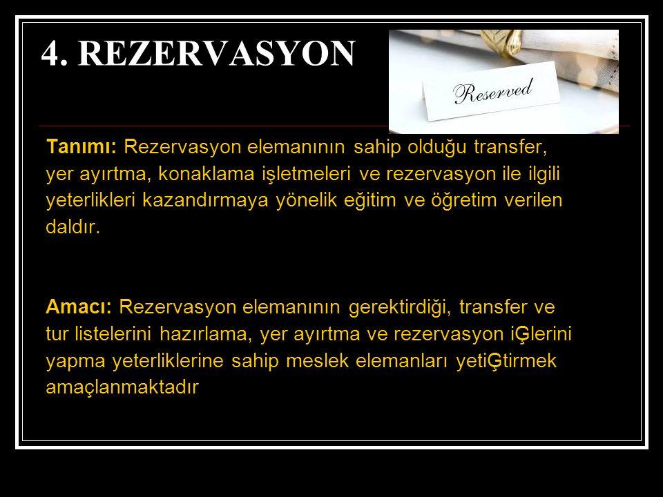 4. REZERVASYON Tanımı: Rezervasyon elemanının sahip olduğu transfer, yer ayırtma, konaklama işletmeleri ve rezervasyon ile ilgili yeterlikleri kazandı