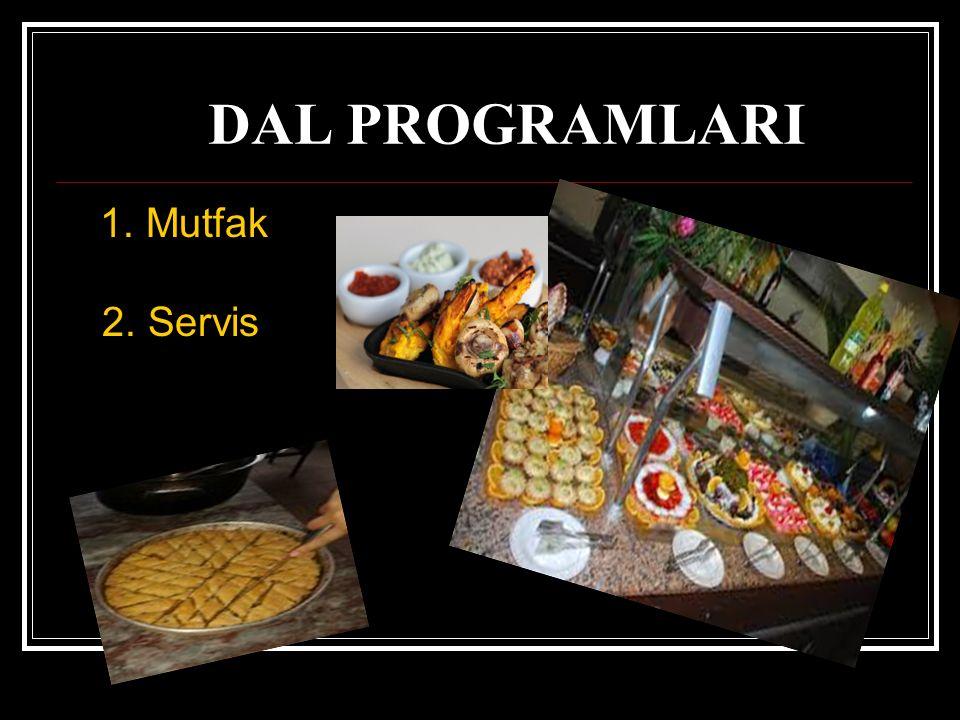 YİYECEK İÇECEK HİZMETLERİ DAL PROGRAMLARI 1. Mutfak 2. Servis