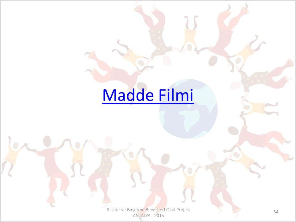 Madde Filmi Riskler ve Başetme Becerileri Okul Projesi ANTALYA - 2015 54