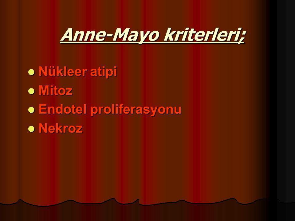 Anne-Mayo kriterleri; Nükleer atipi Nükleer atipi Mitoz Mitoz Endotel proliferasyonu Endotel proliferasyonu Nekroz Nekroz
