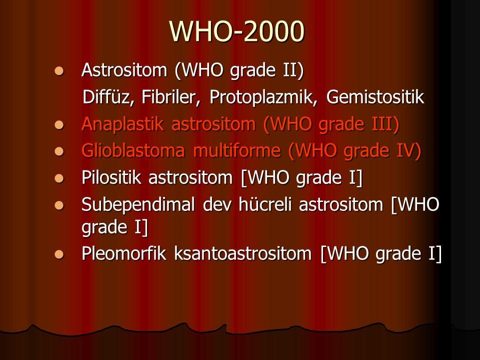 WHO-2000 Astrositom (WHO grade II) Astrositom (WHO grade II) Diffüz, Fibriler, Protoplazmik, Gemistositik Diffüz, Fibriler, Protoplazmik, Gemistositik