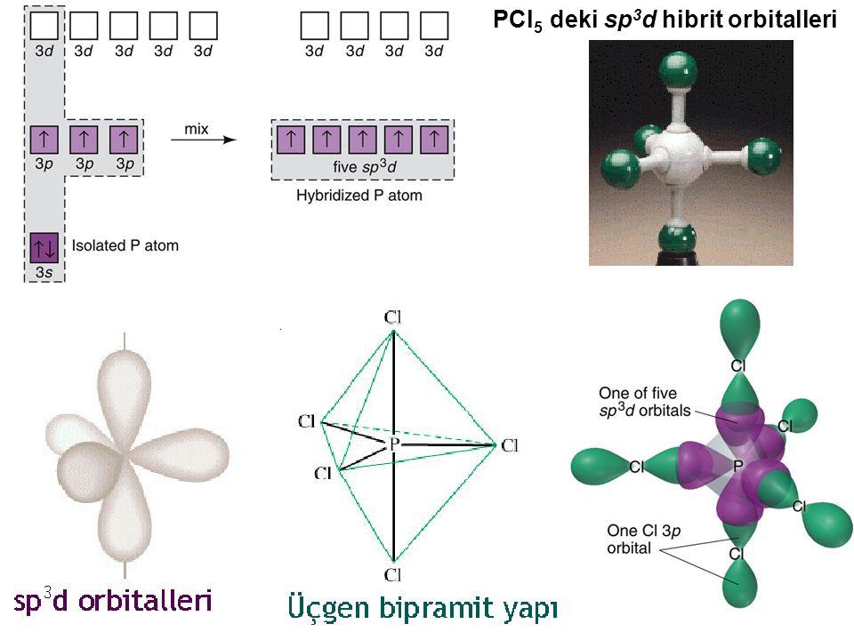 PCl 5 deki sp 3 d hibrit orbitalleri