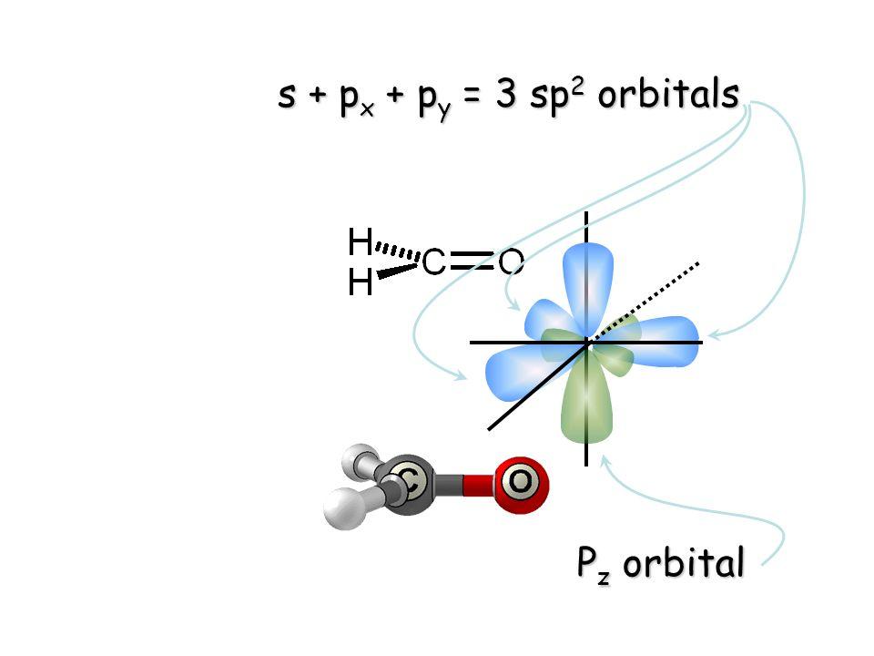 s + p x + p y = 3 sp 2 orbitals P z orbital