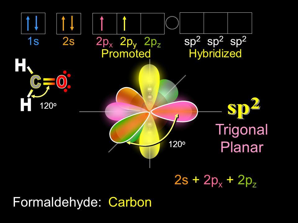 2s2p x 2p z 2p y 1s sp 2 sp 2 sp 2 120 o Hybridized Formaldehyde: Carbon Promoted 120 o Trigonal Planar 2s + 2p x + 2p z