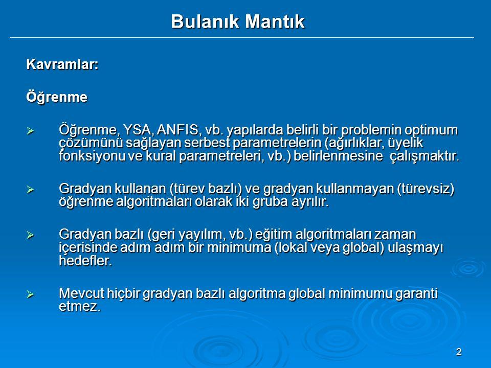2 Kavramlar:Öğrenme  Öğrenme, YSA, ANFIS, vb. yapılarda belirli bir problemin optimum çözümünü sağlayan serbest parametrelerin (ağırlıklar, üyelik fo
