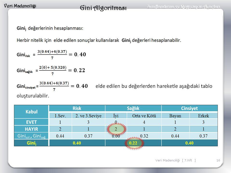 Veri Madencili ğ i 16Veri Madenciliği [ 7.hft ] Sınıflandırma ve Regresyon A ğ açları Gini Algoritması